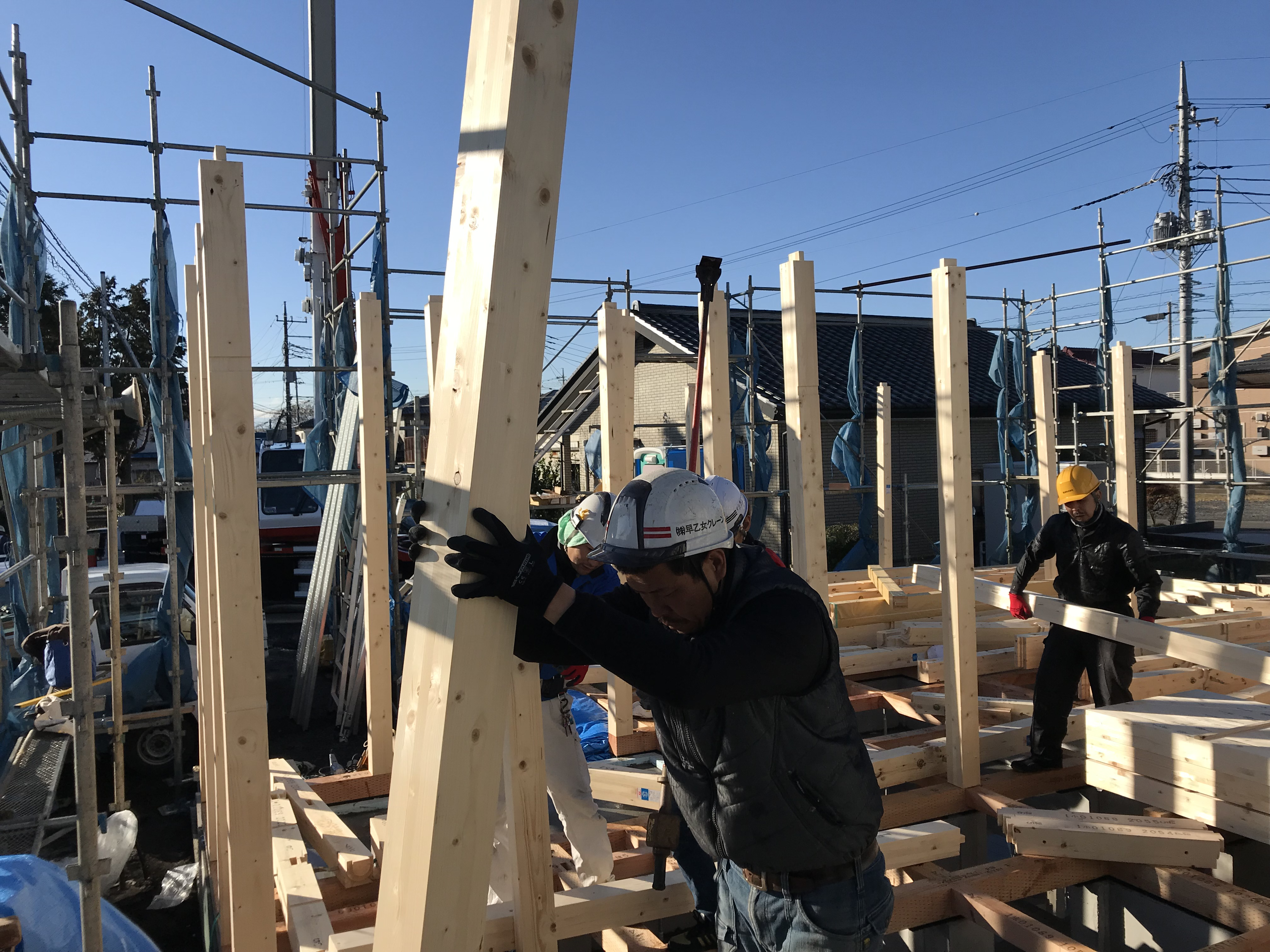 平屋の新築工事 建て方 栃木県下野市